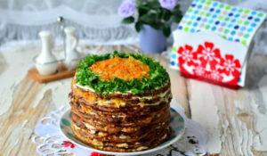 Печеночный торт с морковкой